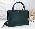 Женская сумка зеленого цвета,эко-кожа+натуральный замш, фото 9