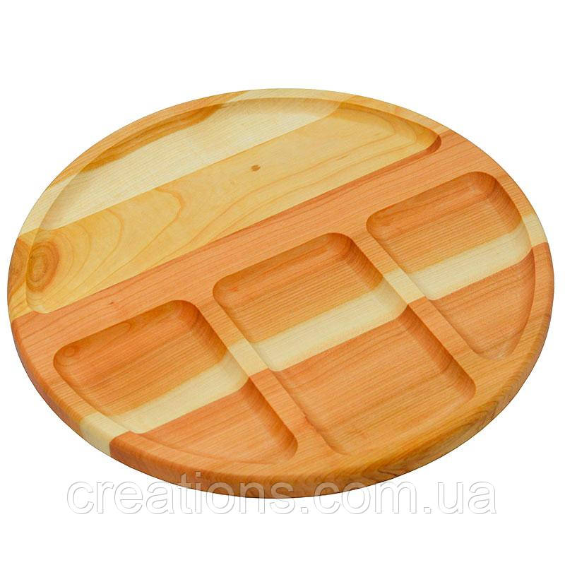 Менажница деревянная 34 см. круглая на 4 секции из черешни, ясеня
