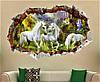 Интерьерная объемная 3D наклейка для декора виниловая в детскую комнату на стену Единороги, фото 2