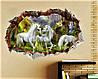 Интерьерная объемная 3D наклейка для декора виниловая в детскую комнату на стену Единороги, фото 3
