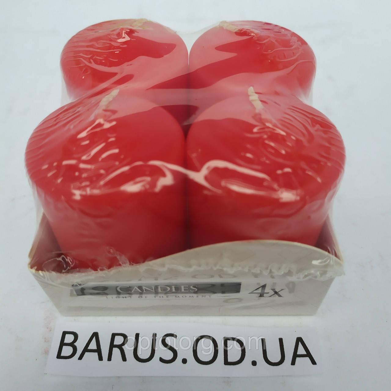 Свечи столбики Bispol лаковые Красные 1/4 шт 60*40 мм