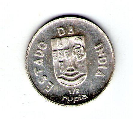 Португальская Индия 1/2 рупии 1936 год Серебро
