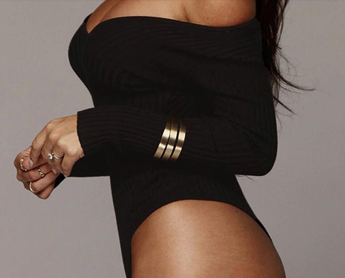 Женское боди SMILE Kora с длинным рукавом, облегающее и с v-образным вырезом черное