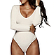 Женское боди SMILE Kora с длинным рукавом, облегающее и с v-образным вырезом черное, фото 8