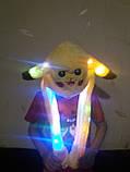 Шапка в виде зайца с двигающимися ушами светящаяся Пикачу, фото 2