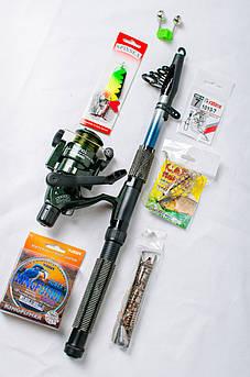 Рыболовный набор Спиннинг + катушка Кобра +Подарок! Набор 8 в 1.Подарочная упаковка!