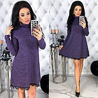 Женское платье мини ангора-софт с длинным рукавом.Серое, бордовое, розовое, фиолетовое. С-М, Л-ХЛ