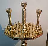 Подсвечник трехглавый на 62 свечей восьмигранный, фото 2