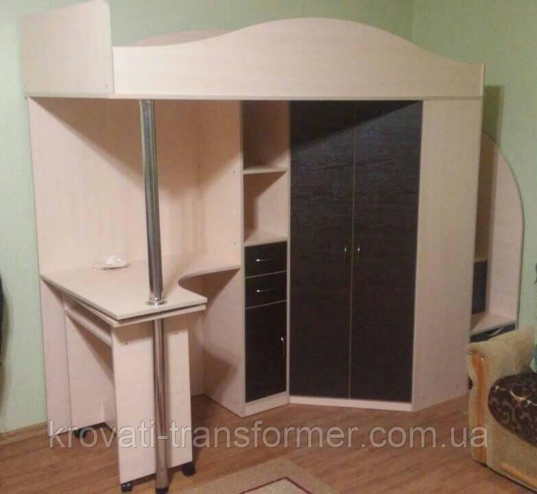 """Кровать чердак со шкафом и столом """"Комби"""" дуб молочный+ темный венге. Стандарт."""