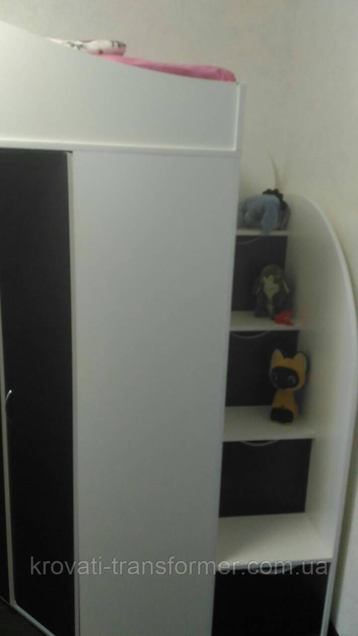 """Кровать чердак со шкафом и столом """"Комби"""" белый+венге магия. Стандарт"""