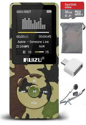 MP3 Плеер RuiZu X02 8Gb Original Камуфляж + карта памяти microSD 16Gb, наушники и чехол мешочек, фото 2