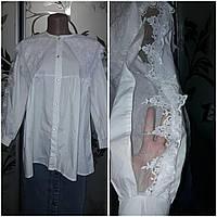 Женская белая блуза/рубашка с ажурными вставками, 44-46