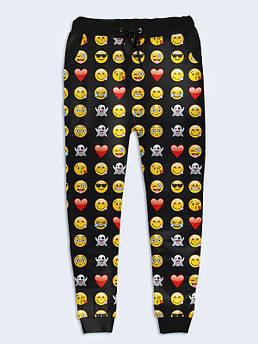 Женские брюки Смайлики на черном. Размер 42 - 50