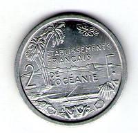 Французская Океания 2 франка 1949 год алюминий