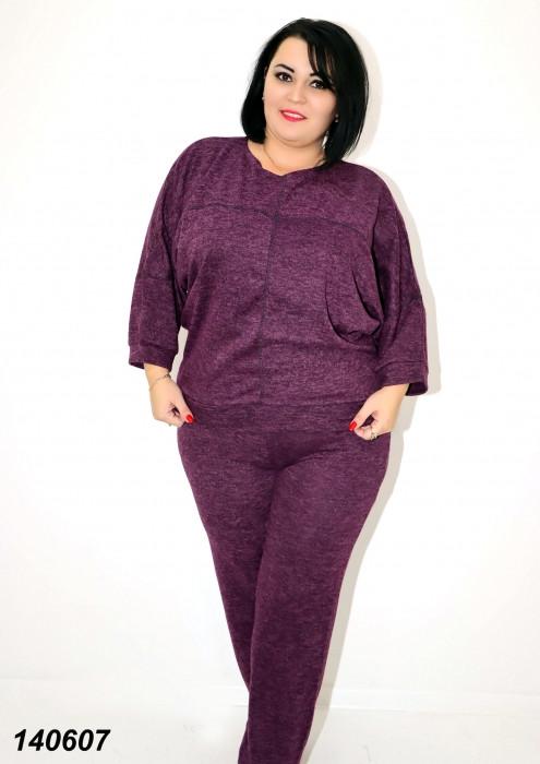 Брючный женский костюм из ангоры, фиолетовый 50,52,54,56