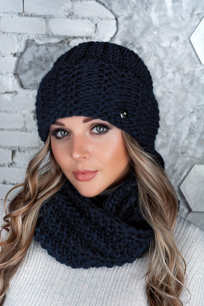 Комплект (шапка и снуд-хомут) Flirt Стилари One Size темно-синий