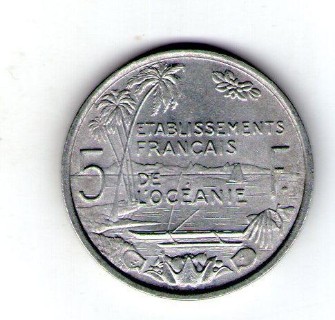 Французская Океания 5 франков 1949 год алюминий