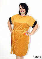 Платье желтое трикотажное с пайетками на рукавах 48 50 52,54,56, фото 1