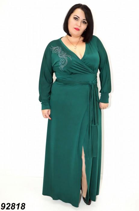 Платье зеленое вечернее длинное большой размер  50 52,54,56