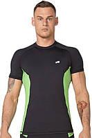 Компрессионная футболка спортивная мужская Radical Fury Duo чёрная с зелёными вставками