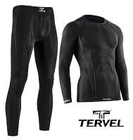 Комплект спортивного мужского термобелья Tervel Comfortline бесшовное, зональное, черный, фото 1