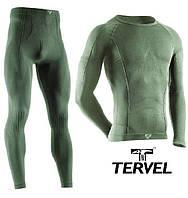 Комплект спортивного мужского термобелья Tervel Comfortline бесшовное, зональное, зелёный, фото 1