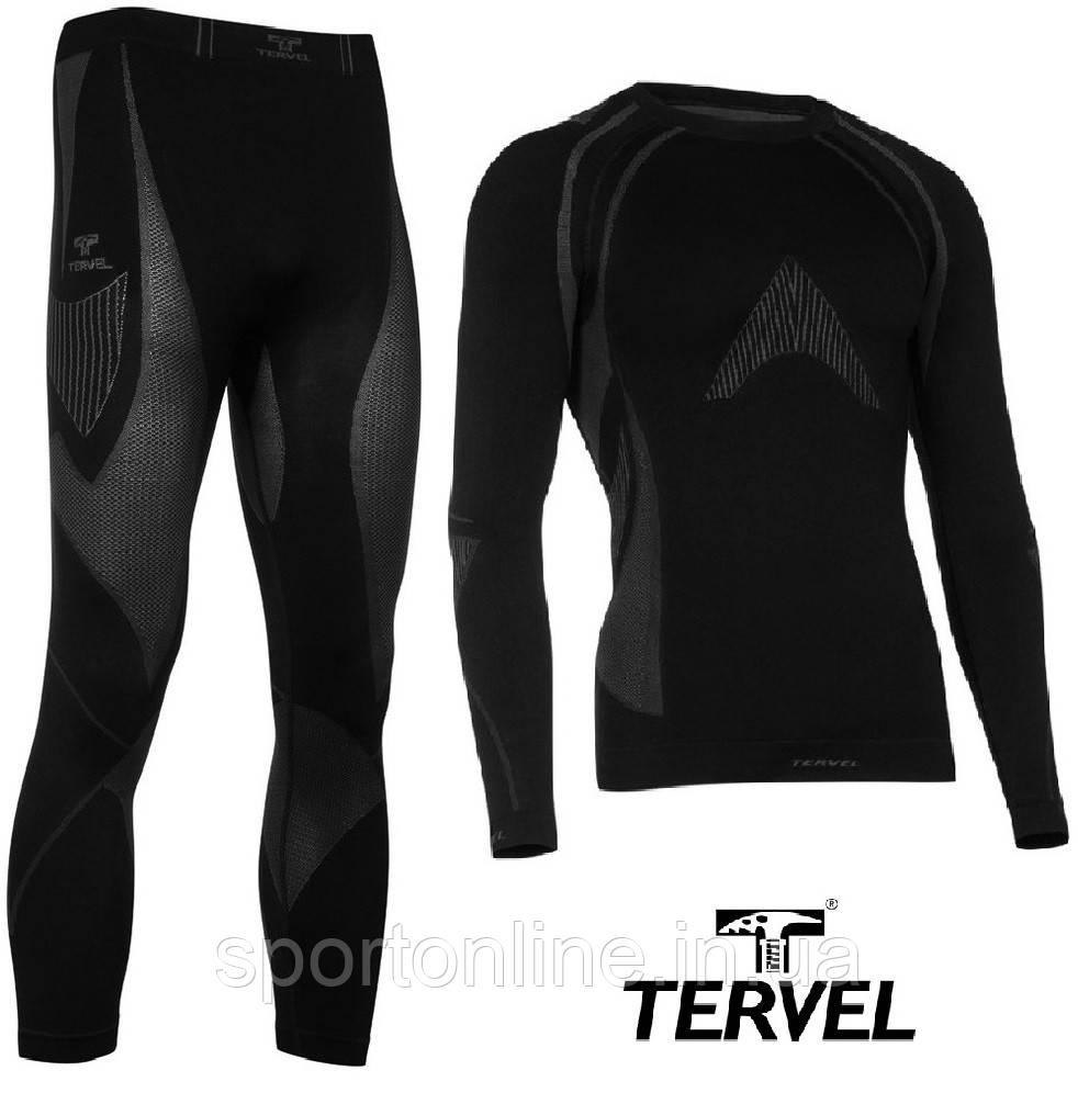 Комплект спортивного мужского термобелья Tervel Optiline бесшовное, зональное, черный XXL