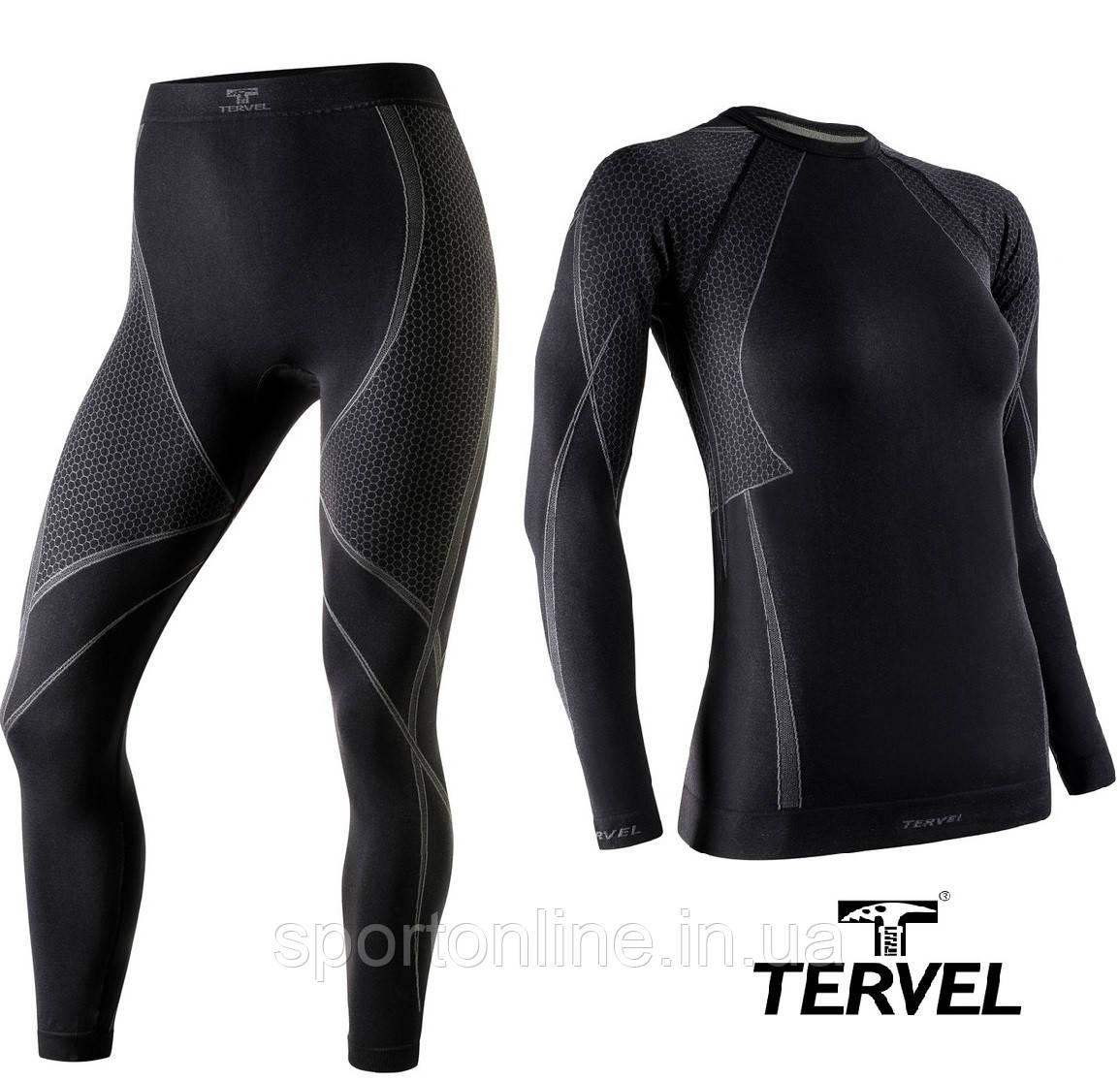 Термобельё спортивное женское Tervel Optiline комплект, бесшовное зональное, чёрный с серым узором