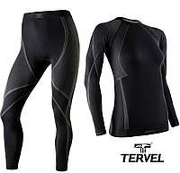 Термобельё спортивное женское Tervel Optiline комплект, бесшовное зональное, чёрный с серым узором, фото 1