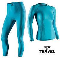 Термобельё спортивное женское Tervel Comfortline комплект, бесшовное зональное, голубой, фото 1