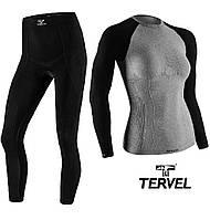 Термобельё спортивное женское Tervel Comfortline комплект, бесшовное зональное, серый с черным
