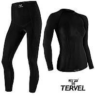 Термобельё спортивное женское Tervel Comfortline комплект, бесшовное зональное, черный, фото 1