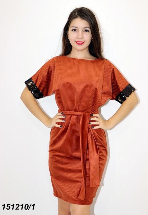 Платье терракотовое трикотажное с пайетками 42 44 46