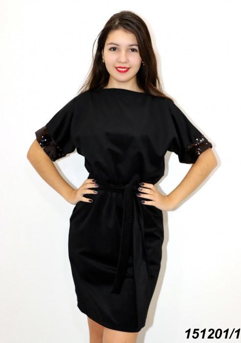 Платье черное трикотажное с пайетками 42 44 46