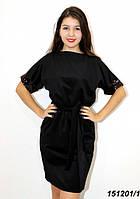 Платье черное трикотажное с пайетками 42 44 46, фото 1