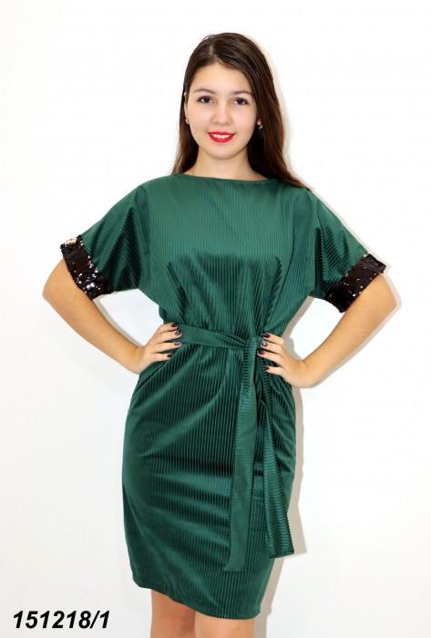 Платье зеленое трикотажное с пайетками 42 44 46