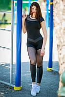 Комбинезон женский спортивный с сеткой Totalfit F81-C25 черный