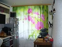"""А эта фотоштора украшает окно в кухне Ларисы из Шахтерска (Россия) «А это они же в закрытом виде. Спасибо! Ваши шторки на Сахалине.» Фотоштора для кухни """"Малиновые орхидеи в кухне"""""""