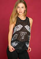 Майка женская спортивная Totalfit 5-P45, черный с серым M