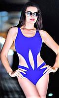 Слитный купальник с сеткой Totalfit K4-С12, синий L