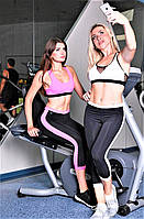 Бриджи женские спортивные Totalfit L12-C3 черные с розовой вставкой, фото 1