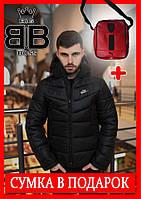 Куртка мужская зимняя с капюшоном, теплая,стильная,цвет черный + сумка в Подарок