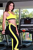 Бриджи женские спортивные Totalfit L12-C1, черные с желтыми вставками