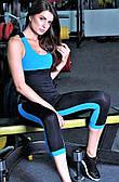 Женские спортивные бриджи Totalfit L12-C5, черные с синими вставками
