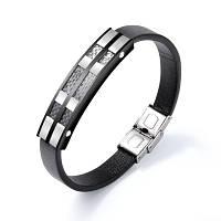 Шкіряний браслет зі вставками з нержавіючої сталі і карбону, фото 1