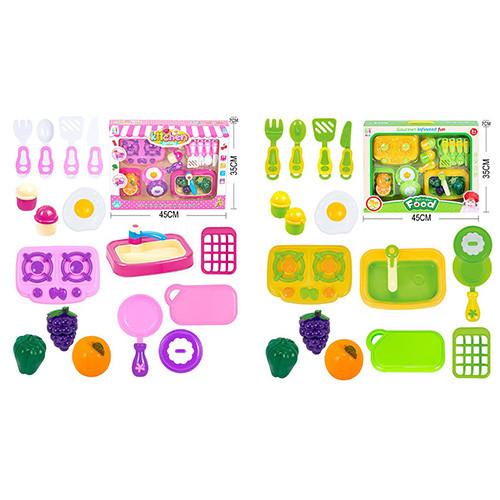 Кухня 5003B-C плита, мийка, посуд, продукти на липучці, 14предм, 2вида, в кор-ке, 45-35-7см