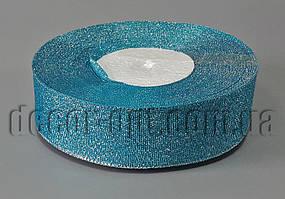 Лента парча+серебро голубая 2,5 см 25ярд
