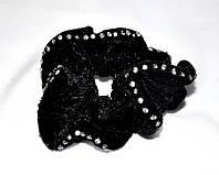 Резинка для волос оптом - велюровая с камнями
