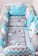 """Комплект в кроватку для новорожденных с подушками-бортиками,зверюшкам и бортиком косичкой """"Зебрик"""""""