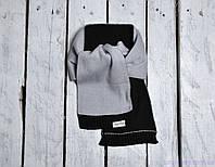 Шарф хомут детский двухцветный, серо-черный, фото 1